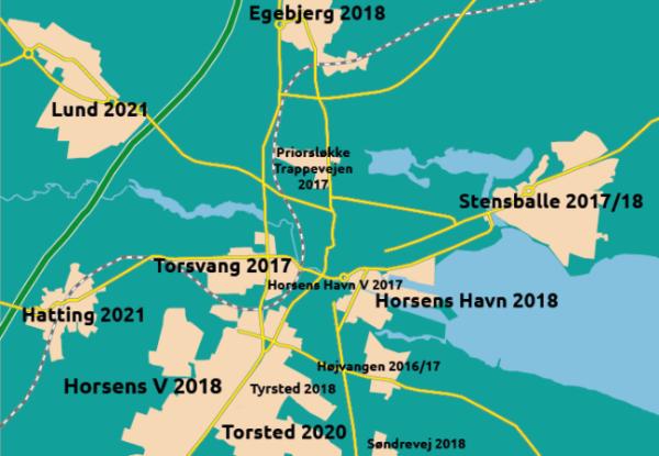 Planoversigt for fjernvarme Horsens - klik på kortet og se hvornår fjernvarmen kommer til din by